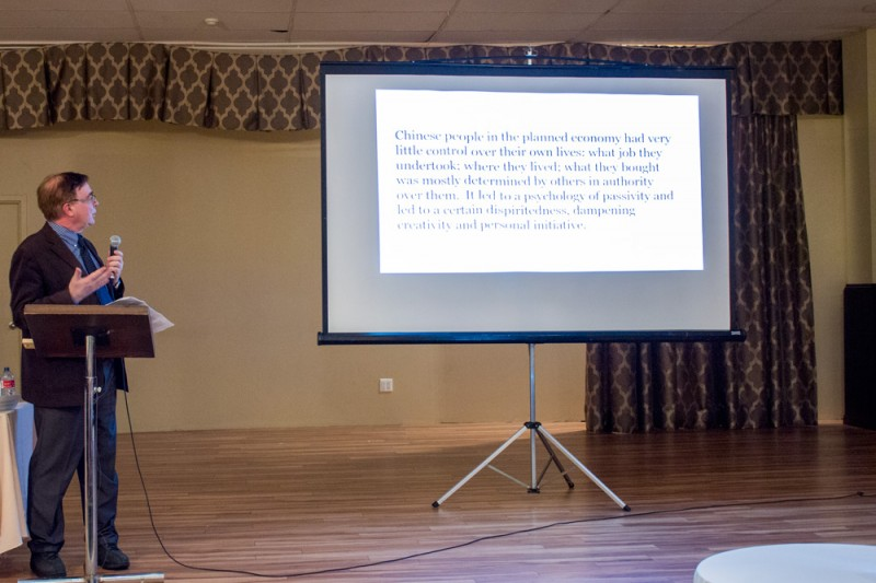 The talk was illustrated with slides and photographs